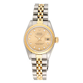 Rolex Datejust 69173 18k Yellow Gold and Stainless Steel Diamond Dial Womens 26mm Watch