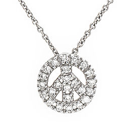 Roberto Coin 18K White Gold Diamond Tiny Treasures & Mini Peace Sign Pendant Necklace