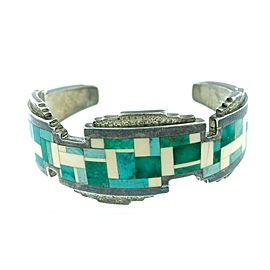 Vintage Ray Tracy Green Turquoise Sterling Silver Bracelet