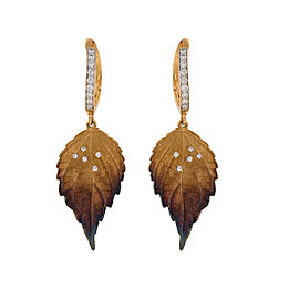 Simon G. 18K Yellow Gold with 0.19ctw Diamond Organic Allure Leaf Drops Earrings