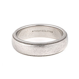 Tiffany & Co. 0.950 Platinum Millgrain Wedding Band Ring Size 9.5