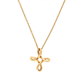 Tiffany & Co Elsa Peretti 18K Yellow Gold Infinity Cross Pendant Necklace