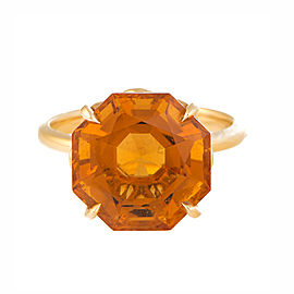 Tiffany & Co. 18K Yellow Gold with Sparklers Octagonal Citrine Ring Size 7