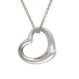 Tiffany & Co. 925 Sterling Silver Open Heart Pendant Necklace