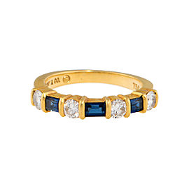 Tiffany & Co. 18K Yellow Gold with Sapphire and 0.04ct Diamond Band Ring Size 4.75