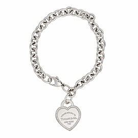 Tiffany & Co. 18K White Gold Return To Tiffany 0.26ctw Diamond Heart Tag Bracelet