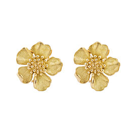 Tiffany & Co. 18k Yellow Gold Dogwood Flower Earrings
