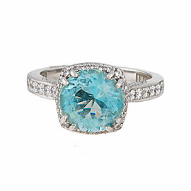 Tacori PT950 Platinum with Aquamarine and 0.37ct Diamond Engagement Ring Size 4.5