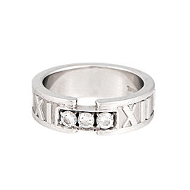 Tiffany & Co. 18K White Gold Diamond Atlas Ring Size 4.5