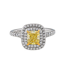 Tiffany & Co. Platinum Fancy Yellow Diamond Soleste Engagement Ring Size 5.5