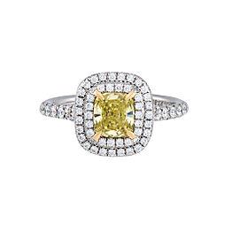Tiffany & Co. Platinum Fancy Yellow Diamond Soleste Engagement Ring Size 5.5
