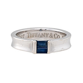 Tiffany & Co. 18K White Gold Sapphire Ring Size 5.5
