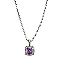 David Yurman Sterling Silver Amethyst and Diamond Albion Pendant Necklace