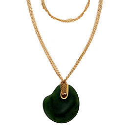 Tiffany & Co. 18K Yellow Gold Nephrite Jade Pendant Necklace