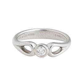 Tiffany Elsa Peretti Platinum 0.10 Ct Diamond Ring Size 6.5