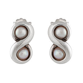 Tiffany & Co. Sterling Silver Infinity Pearl Earrings
