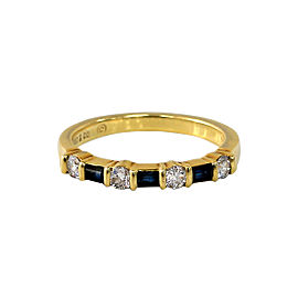 Tiffany & Co. 18K Yellow Gold 0.25ct Diamond & 0.10ct Sapphire Band Ring Sz 5