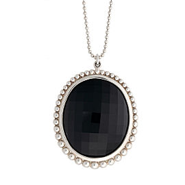 Tiffany & Co. Sterling Silver Ziegfeld Black Onyx Pendant Necklace