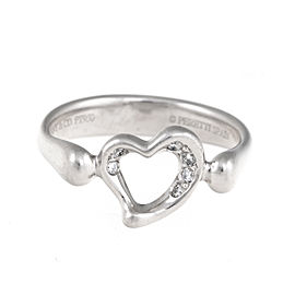 Tiffany & Co. Elsa Peretti Platinum Open Heart 0.10ct. Diamond Ring Size 5.5