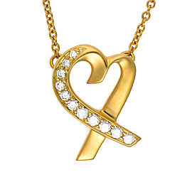 Tiffany & Co. 18K Yellow Gold Diamond Loving Heart Pendant Necklace