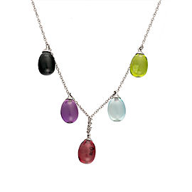 Tiffany & Co. 18K White Gold Rainbow Drop Necklace
