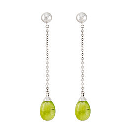 Tiffany & Co. 18K White Gold with Peridot Rainbow Drop Earrings