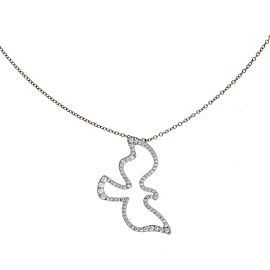 Tiffany & Co. 18K White Gold Pave 0.30ctw Diamond Dove Pendant Necklace