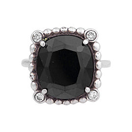 Tiffany & Co. Sterling Silver Ziegfield Black Spinel Ring Size 5