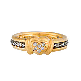 Phillipe Charriol 18K Yellow Gold and Stainless Steel Cable Diamonds Ring Size 6