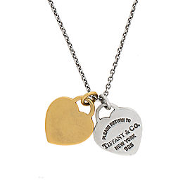 Tiffany & Co. Sterling Silver 18K Yellow Gold Return To Tiffany Double Heart Tag Pendant Necklace