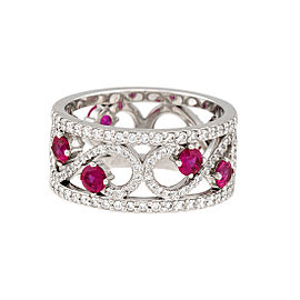 Tiffany & Co. 950 Platinum Enchant 0.39ctw Diamond Ruby Ring Size 6