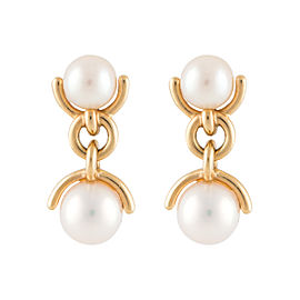Tiffany & Co. 18K Yellow Gold Double Drop Pearl Dangle Earrings
