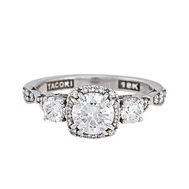 Tacori 18K White Gold Diamond Dantela Engagement Ring Size 4.5