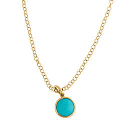 Tiffany & Co. 18K Yelllow Gold Paloma Picasso Turquoise Dot Charm Pendant Necklace