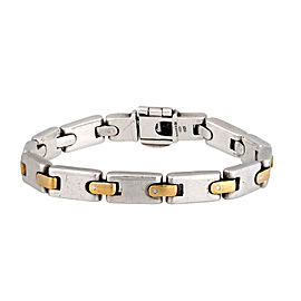 Tiffany & Co. 925 Sterling SIlver & 18K Yellow Gold Link Vintage Bracelet