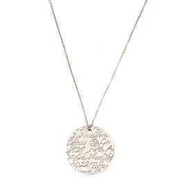 Tiffany & Co. Notes 5th Ave New York Disc Sterling Silver Pendant Necklace