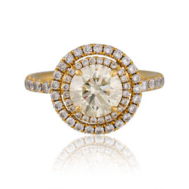 18K Yellow Gold Double Halo Engagement Ring Size 5.75