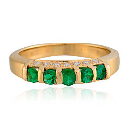 14K Yellow Gold Emerald and Diamond Band Size 5.75