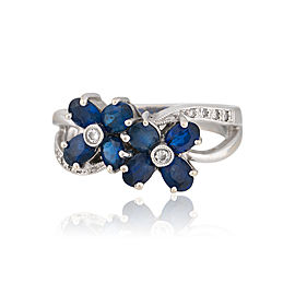18K White Gold Sapphire and Diamond Flower Ring Size 7