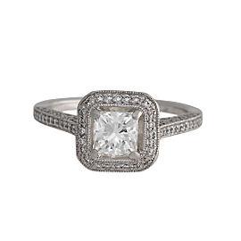 Platinum Square Modified Brilliant Diamond Engagement Ring Size 6.5