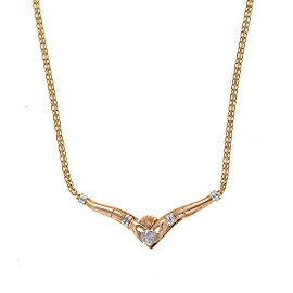 14K Yellow Gold Claddagh 0.09ct. Diamond Necklace