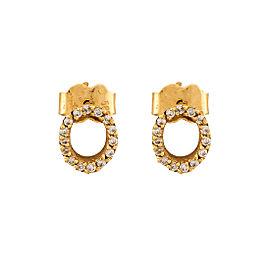 14K Yellow Gold 0.22ctw Diamond Oval Stud Earrings