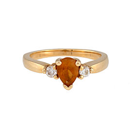 14K Yellow Gold Citrine 0.15ctw Diamond Ring Size 6.75