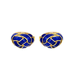 Martine 14K Yellow Gold & Blue Enamel Love Knot Cufflinks