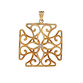 18K Yellow Gold Filigree 0.01ctw Diamond Cross Pendant