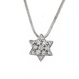 14K White Gold Star of David Diamond Pendant Necklace