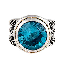 Sterling Silver Aquamarine Cocktail Ring Size 5
