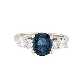 14K White Gold Sapphire 0.50ctw Diamond Ring Size 4