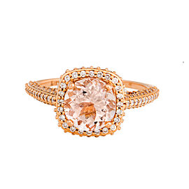 18K Rose Gold Morganite and Diamond Halo Engagement Ring Size 7
