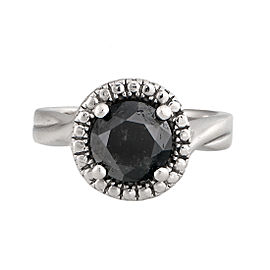 14K White Gold 2.06ctw. Black Diamond Engagement Ring Size 5.25
